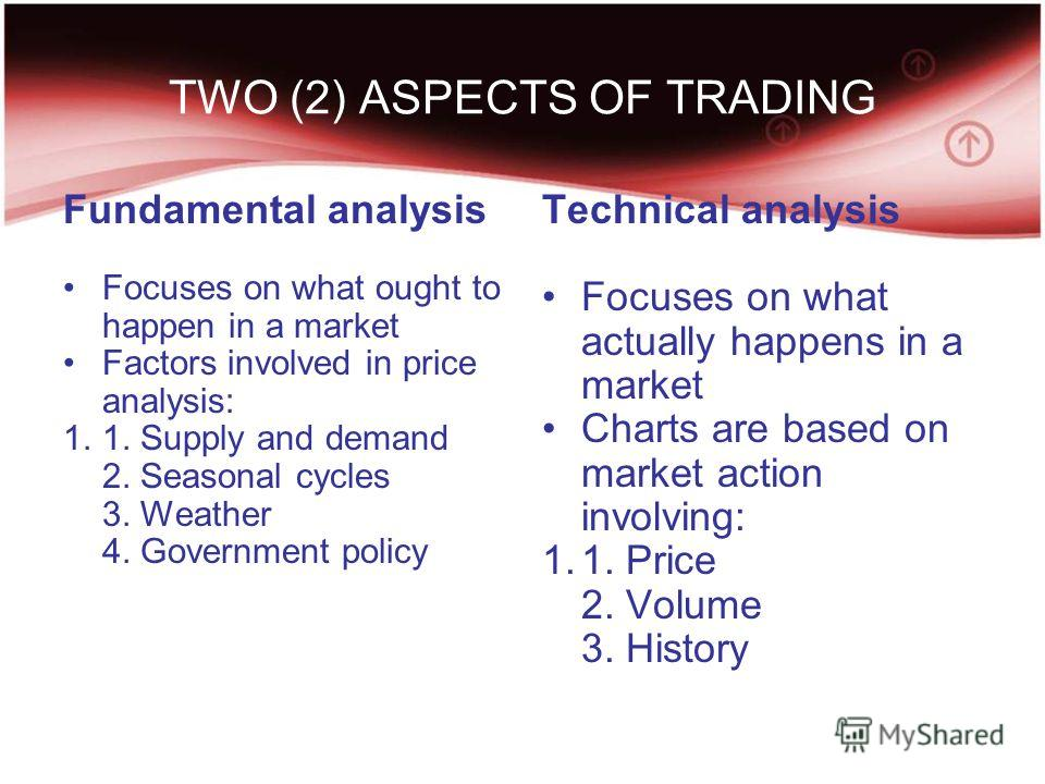 TWO (2) ASPECTS OF TRADING Fundamental analysis Focuses on what ought to happen in a market Factors involved in price analysis: 1.1. Supply and demand 2. Seasonal cycles 3. Weather 4. Government policy Technical analysis Focuses on what actually happ