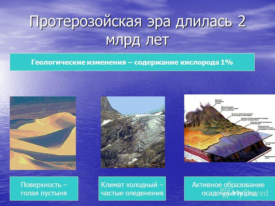 Протерозойская эра длилась 2 млрд лет Поверхность – голая пустыня Геологические изменения – содержание кислорода 1% Климат холодный – частые оледенения Активное образование осадочных пород