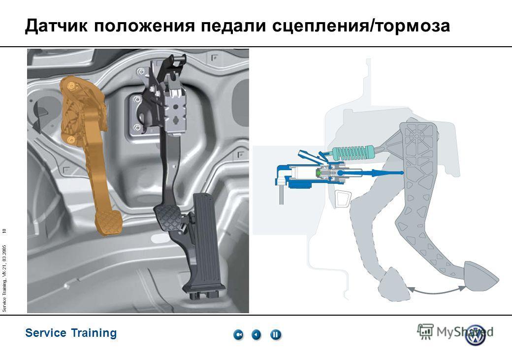 Service Training 10 Service Training, VK-21, 03.2005 Датчик положения педали сцепления/тормоза