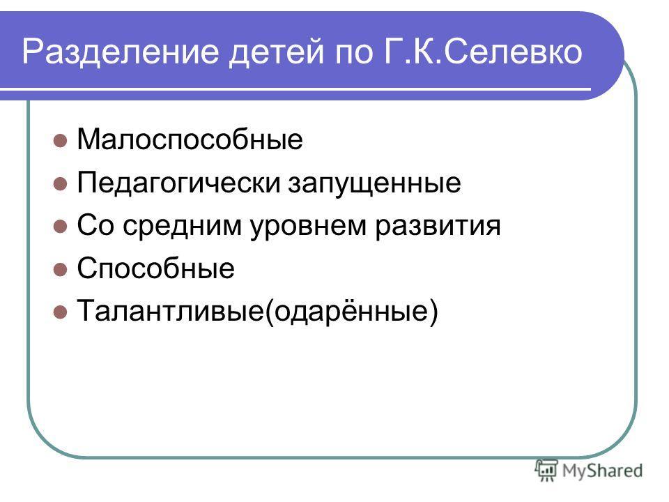 Разделение детей по Г.К.Селевко Малоспособные Педагогически запущенные Со средним уровнем развития Способные Талантливые(одарённые)