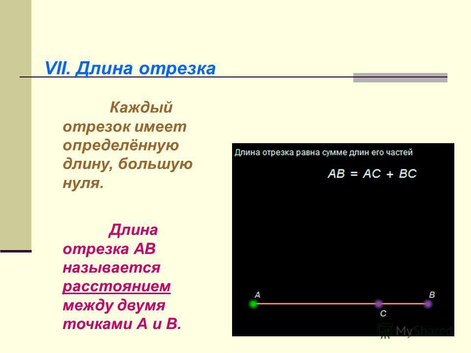VII. Длина отрезка Каждый отрезок имеет определённую длину, большую нуля. Длина отрезка АВ называется расстоянием между двумя точками А и В.