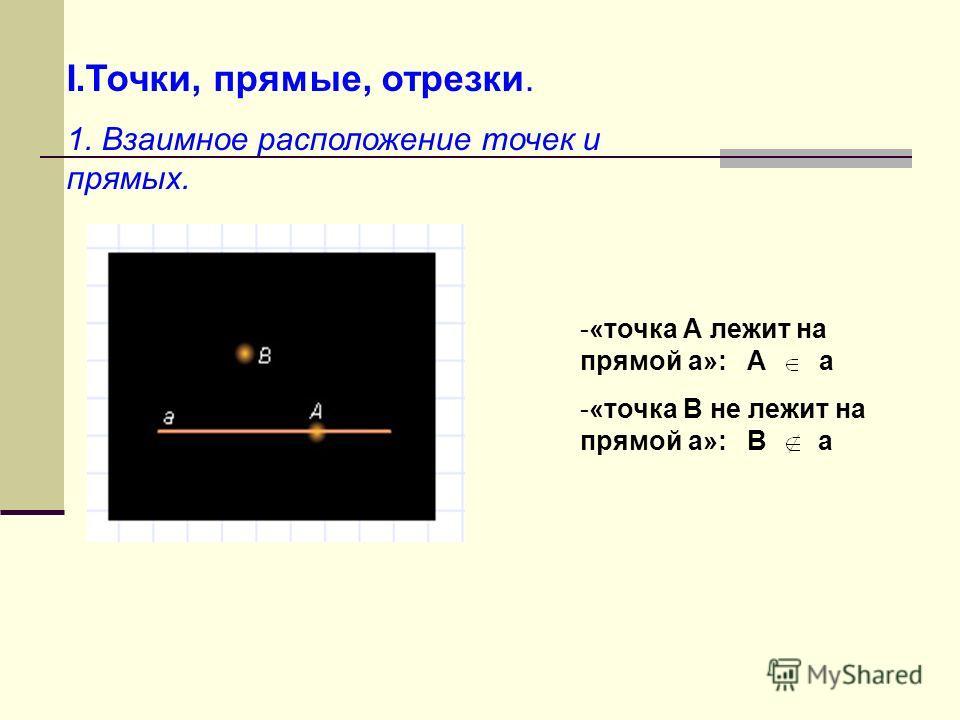 I.Точки, прямые, отрезки. 1. Взаимное расположение точек и прямых. -«-«точка А лежит на прямой а»: А а -«-«точка В не лежит на прямой а»: В а