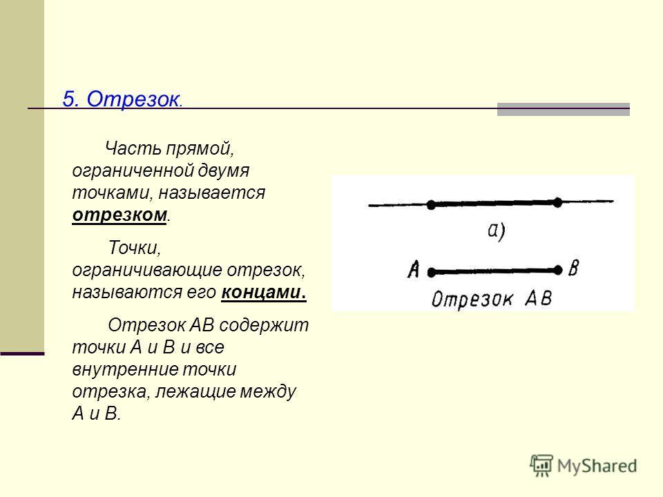 5. Отрезок. Часть прямой, ограниченной двумя точками, называется отрезком. Точки, ограничивающие отрезок, называются его концами. Отрезок АВ содержит точки А и В и все внутренние точки отрезка, лежащие между А и В.