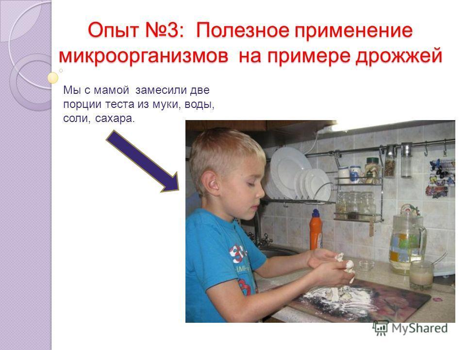 Опыт 3: Полезное применение микроорганизмов на примере дрожжей Мы с мамой замесили две порции теста из муки, воды, соли, сахара.