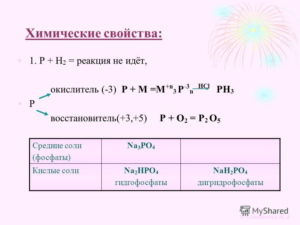 Химические свойства: 1. Р + Н 2 = реакция не идёт, окислитель (-3) Р + М =М +n 3 Р -3 n HCl PH 3 P восстановитель(+3,+5) P + O 2 = P 2 O 5 Средние соли (фосфаты) Na 3 PO 4 Кислые солиNa 2 HPO 4 гидгофосфаты NaH 2 PO 4 дигридрофосфаты