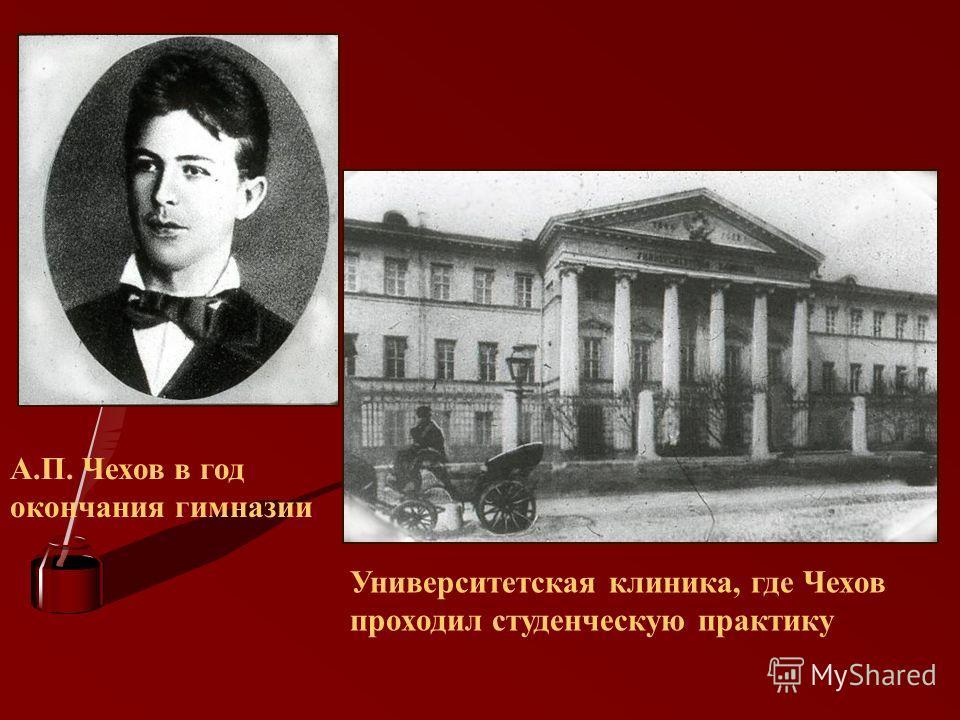 А.П. Чехов в год окончания гимназии Университетская клиника, где Чехов проходил студенческую практику