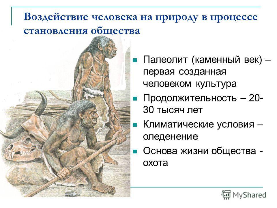Воздействие человека на природу в процессе становления общества Палеолит (каменный век) – первая созданная человеком культура Продолжительность – 20- 30 тысяч лет Климатические условия – оледенение Основа жизни общества - охота