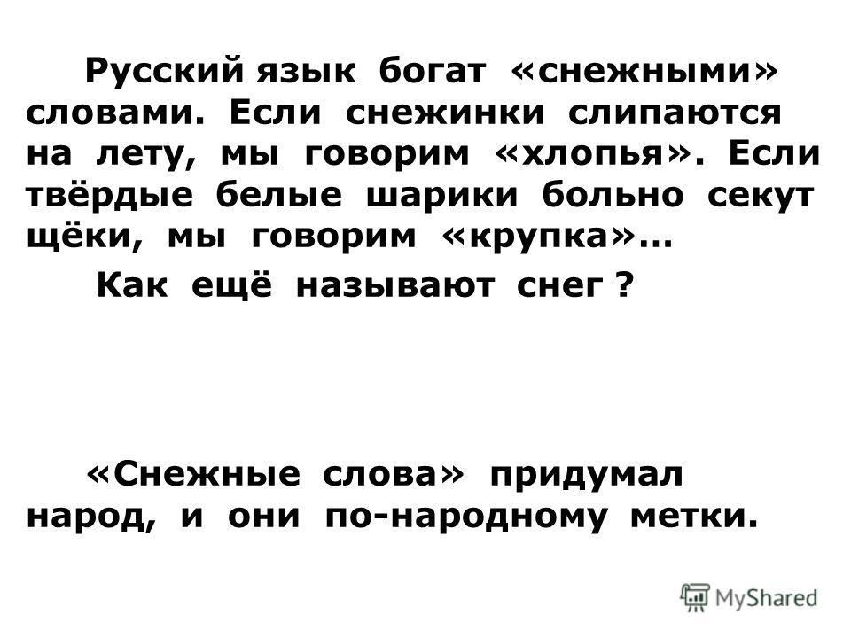 Русский язык богат «снежными» словами. Если снежинки слипаются на лету, мы говорим «хлопья». Если твёрдые белые шарики больно секут щёки, мы говорим «крупка»… Как ещё называют снег ? Пороша, позёмка, вьюга, буран, наст. «Снежные слова» придумал народ