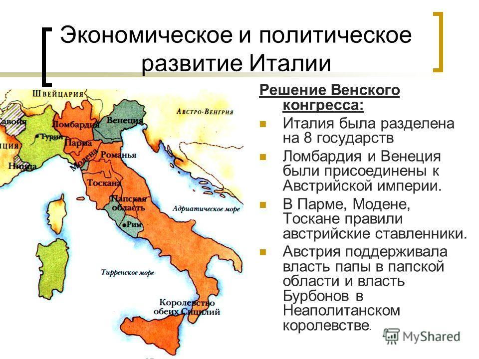 Экономическое и политическое развитие Италии Решение Венского конгресса: Италия была разделена на 8 государств Ломбардия и Венеция были присоединены к Австрийской империи. В Парме, Модене, Тоскане правили австрийские ставленники. Австрия поддерживала