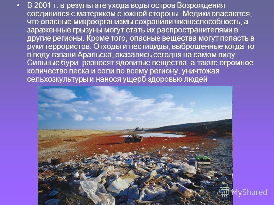 В 2001 г. в результате ухода воды остров Возрождения соединился с материком с южной стороны. Медики опасаются, что опасные микроорганизмы сохранили жизнеспособность, а зараженные грызуны могут стать их распространителями в другие регионы. Кроме того,