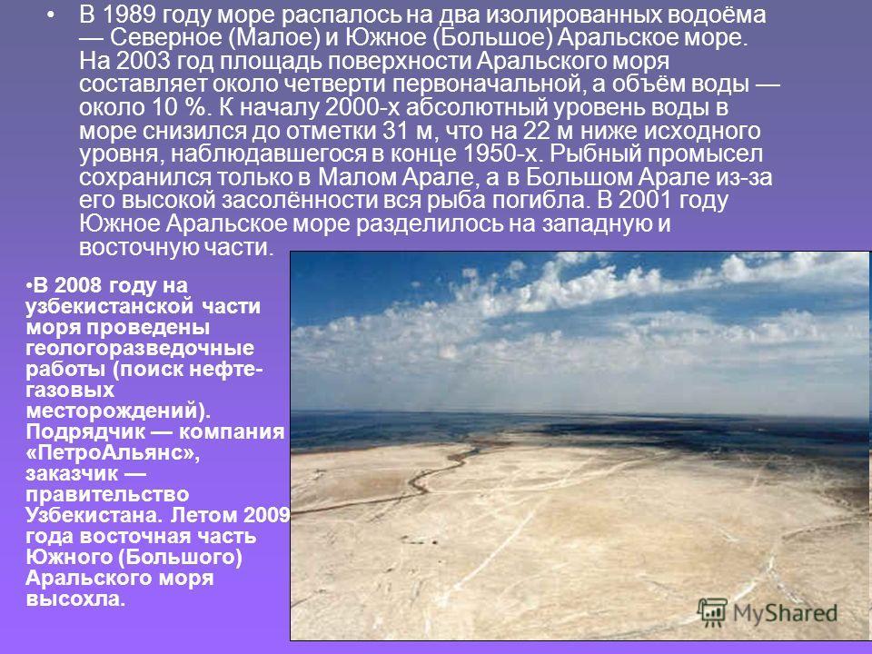 В 1989 году море распалось на два изолированных водоёма Северное (Малое) и Южное (Большое) Аральское море. На 2003 год площадь поверхности Аральского моря составляет около четверти первоначальной, а объём воды около 10 %. К началу 2000-х абсолютный у
