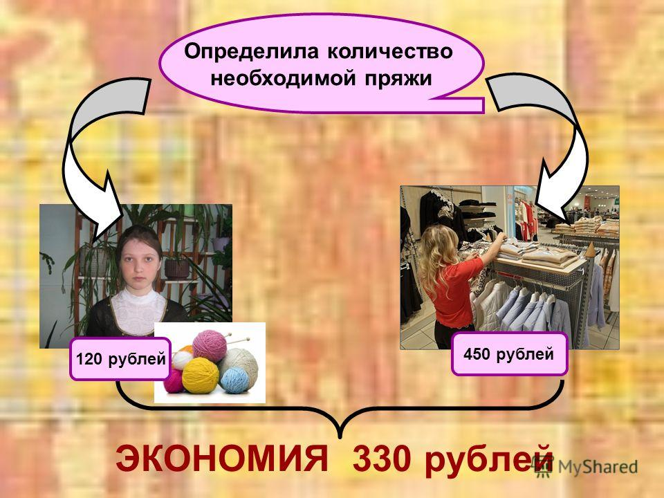 Определила количество необходимой пряжи 120 рублей 450 рублей ЭКОНОМИЯ 330 рублей