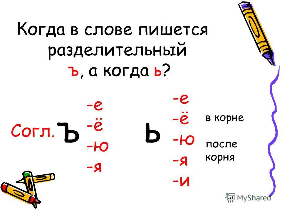 Когда в слове пишется разделительный ъ, а когда ь? -е -ё -ю -я Согл. ъ -е -ё -ю -я -и ь в корне после корня