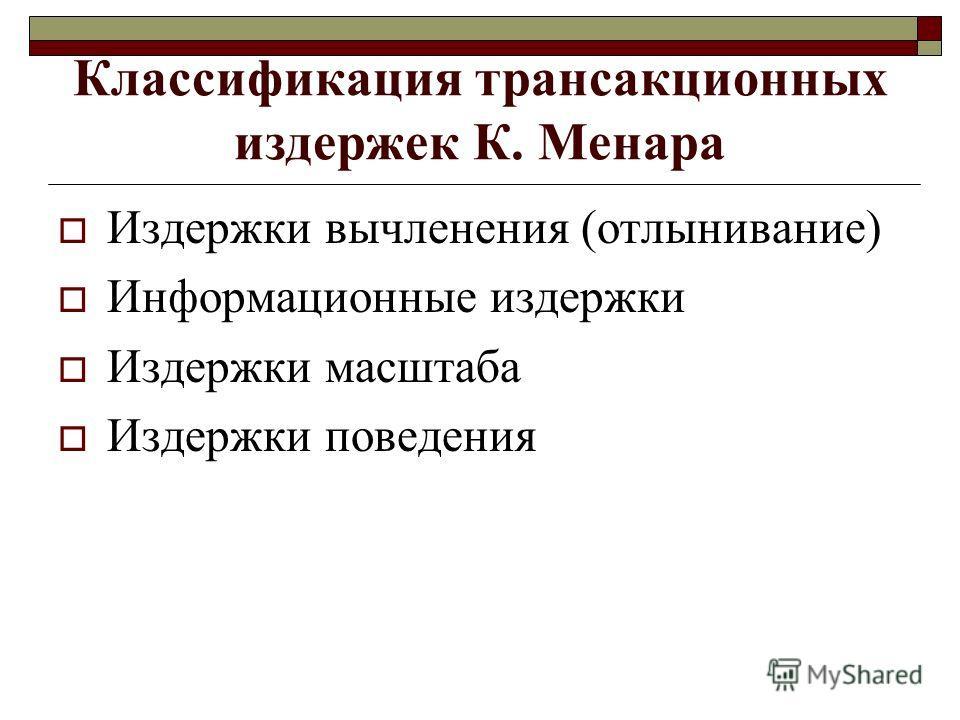 Классификация трансакционных издержек К. Менара Издержки вычленения (отлынивание) Информационные издержки Издержки масштаба Издержки поведения
