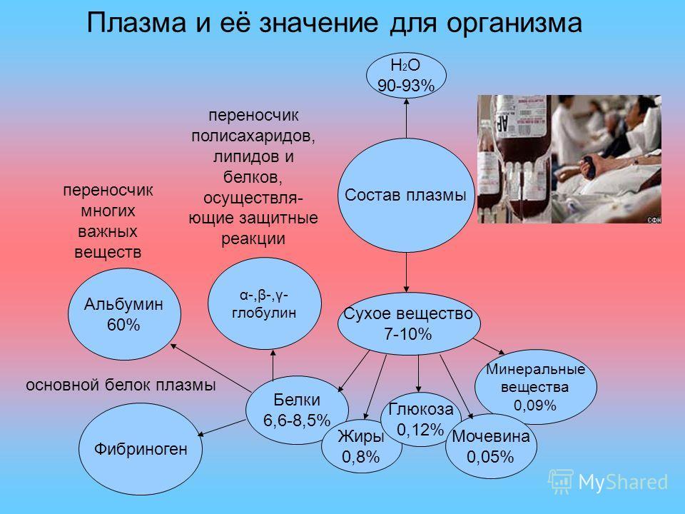 Плазма и её значение для организма Состав плазмы Н 2 О 90-93% Сухое вещество 7-10% Белки 6,6-8,5% Жиры 0,8% Глюкоза 0,12% Минеральные вещества 0,09% Мочевина 0,05% α-,β-,γ- глобулин Альбумин 60% Фибриноген переносчик многих важных веществ переносчик