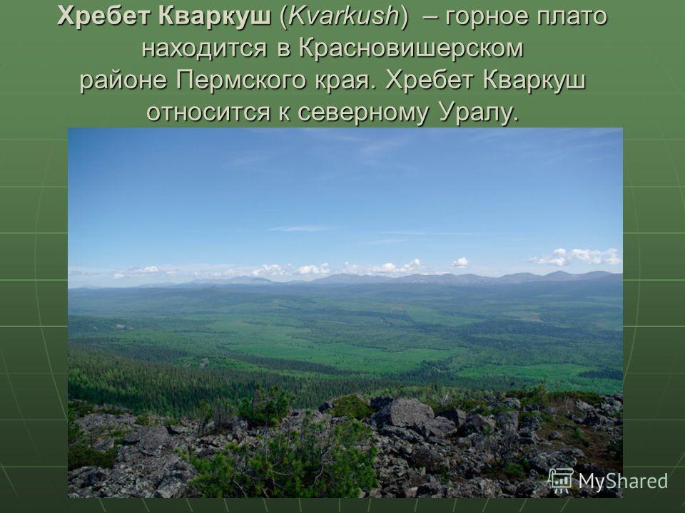 Хребет Кваркуш (Kvarkush) – горное плато находится в Красновишерском районе Пермского края. Хребет Кваркуш относится к северному Уралу.