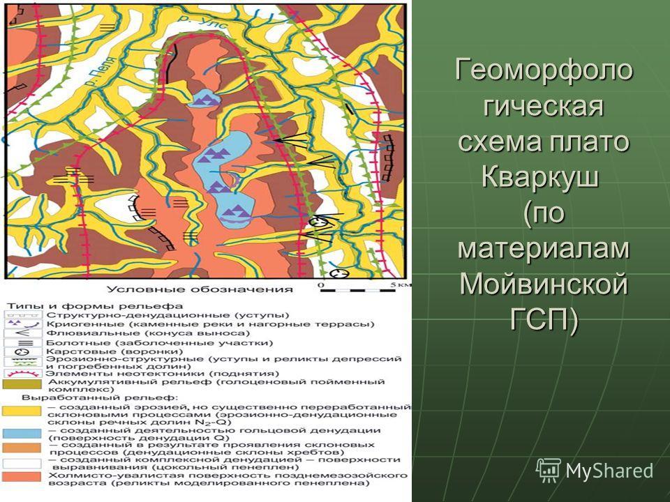 Геоморфоло гическая схема плато Кваркуш (по материалам Мойвинской ГСП)