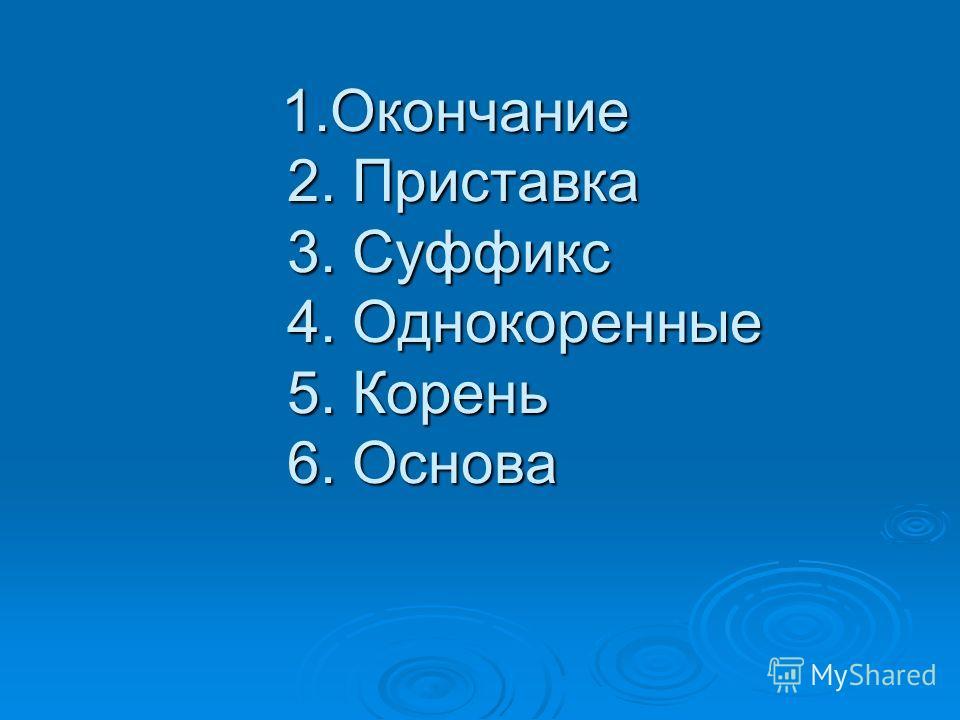 1.Окончание 2. Приставка 3. Суффикс 4. Однокоренные 5. Корень 6. Основа 1.Окончание 2. Приставка 3. Суффикс 4. Однокоренные 5. Корень 6. Основа