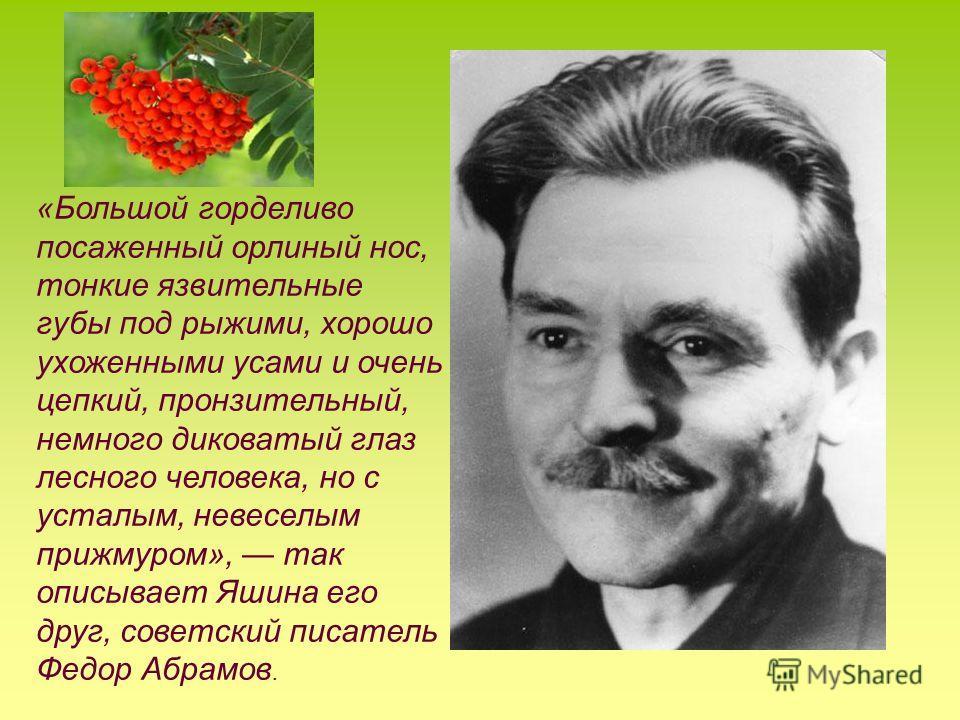 «Большой горделиво посаженный орлиный нос, тонкие язвительные губы под рыжими, хорошо ухоженными усами и очень цепкий, пронзительный, немного диковатый глаз лесного человека, но с усталым, невеселым прижмуром», так описывает Яшина его друг, советский