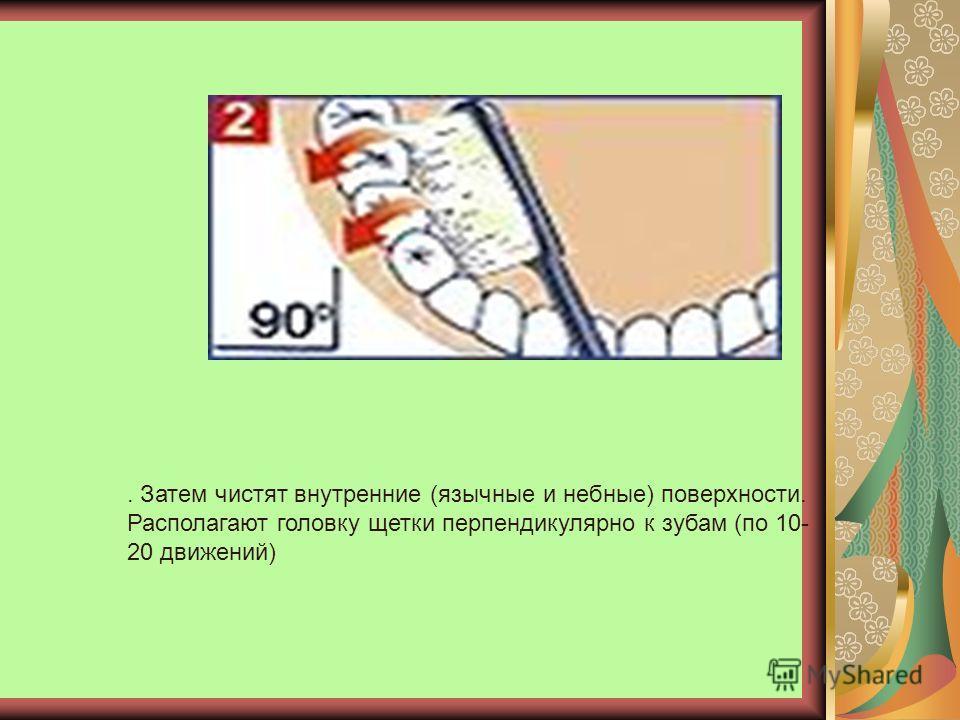 . Затем чистят внутренние (язычные и небные) поверхности. Располагают головку щетки перпендикулярно к зубам (по 10- 20 движений)