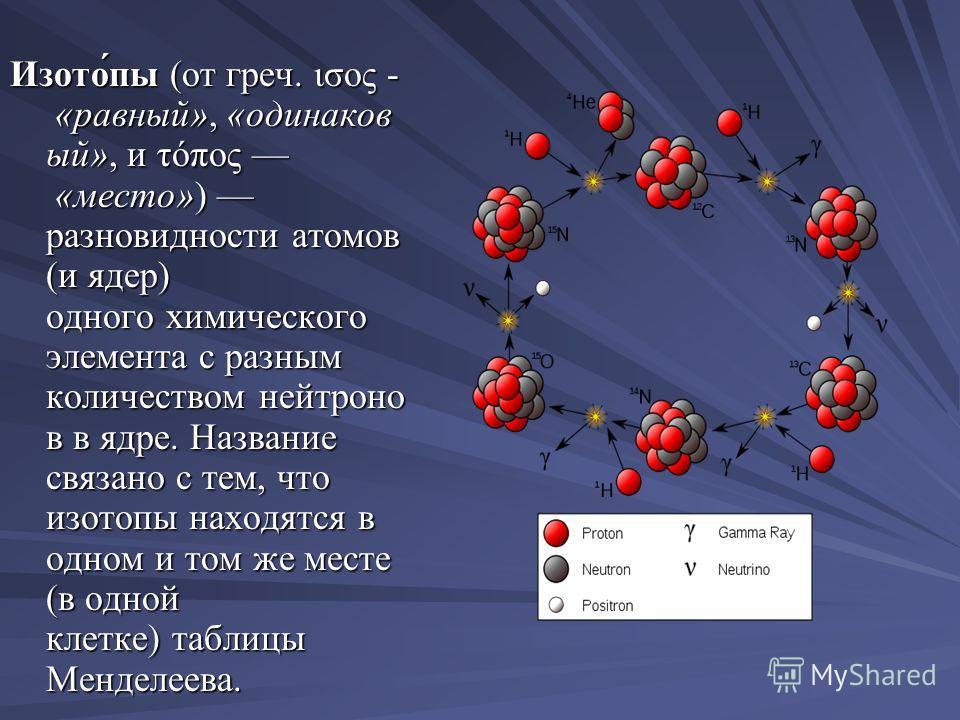 Изото́пы (от греч. ισος - «равный», «одинаков ый», и τόπος «место») разновидности атомов (и ядер) одного химического элемента с разным количеством нейтроно в в ядре. Название связано с тем, что изотопы находятся в одном и том же месте (в одной клетке