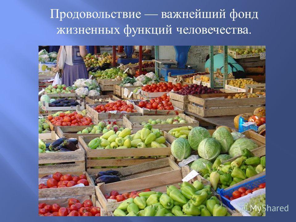 Продовольствие важнейший фонд жизненных функций человечества.