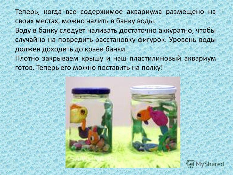 Теперь, когда все содержимое аквариума размещено на своих местах, можно налить в банку воды. Воду в банку следует наливать достаточно аккуратно, чтобы случайно на повредить расстановку фигурок. Уровень воды должен доходить до краев банки. Плотно закр