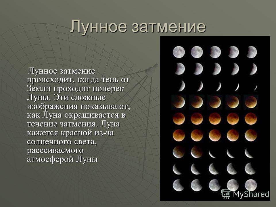 Лунное затмение Лунное затмение происходит, когда тень от Земли проходит поперек Луны. Эти сложные изображения показывают, как Луна окрашивается в течение затмения. Луна кажется красной из-за солнечного света, рассеиваемого атмосферой Луны Лунное зат
