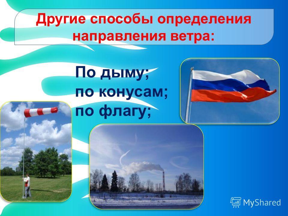 Другие способы определения направления ветра: По дыму; по конусам; по флагу;
