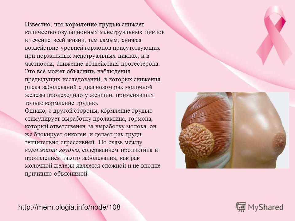 Известно, что кормление грудью снижает количество овуляционных менструальных циклов в течение всей жизни, тем самым, снижая воздействие уровней гормонов присутствующих при нормальных менструальных циклах, и в частности, снижение воздействия прогестер