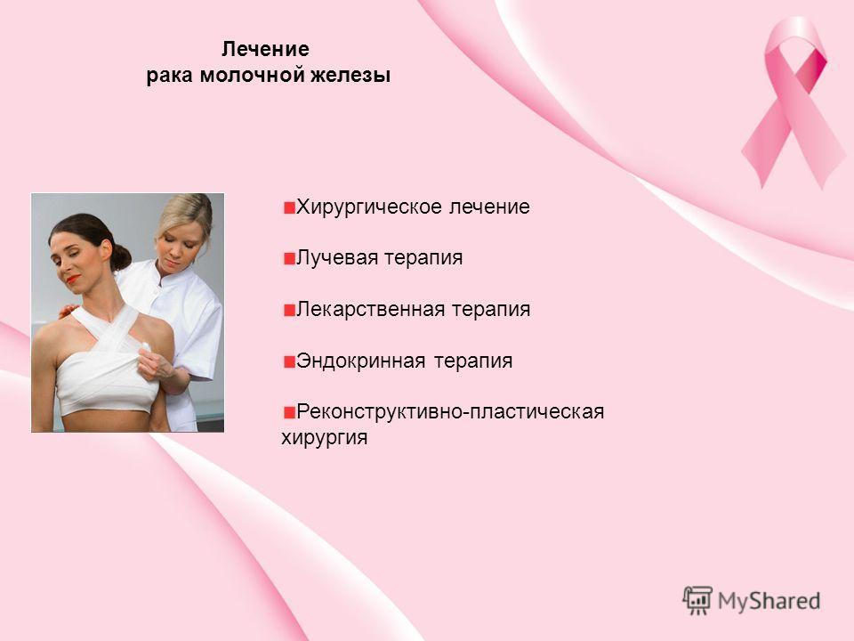 Хирургическое лечение Лучевая терапия Лекарственная терапия Эндокринная терапия Реконструктивно-пластическая хирургия Лечение рака молочной железы