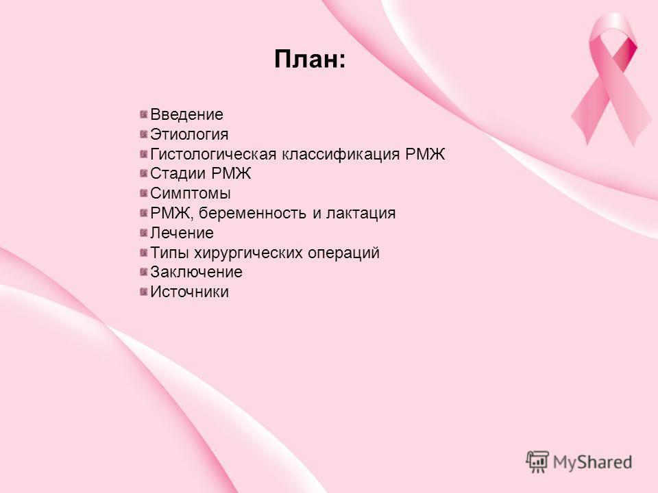 План: Введение Этиология Гистологическая классификация РМЖ Стадии РМЖ Симптомы РМЖ, беременность и лактация Лечение Типы хирургических операций Заключение Источники