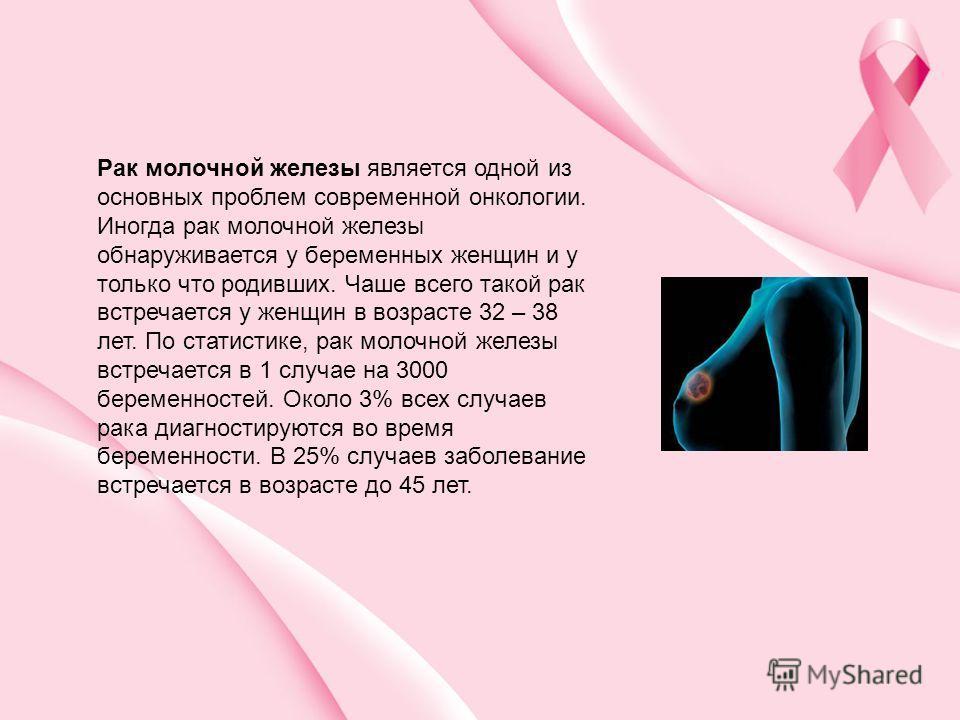 Рак молочной железы является одной из основных проблем современной онкологии. Иногда рак молочной железы обнаруживается у беременных женщин и у только что родивших. Чаше всего такой рак встречается у женщин в возрасте 32 – 38 лет. По статистике, рак