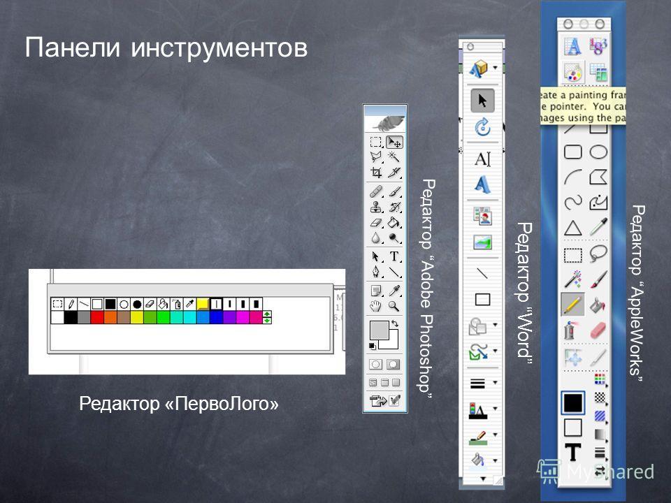 Панели инструментов Редактор AppleWorks Редактор Word Редактор «ПервоЛого» Редактор Adobe Photoshop