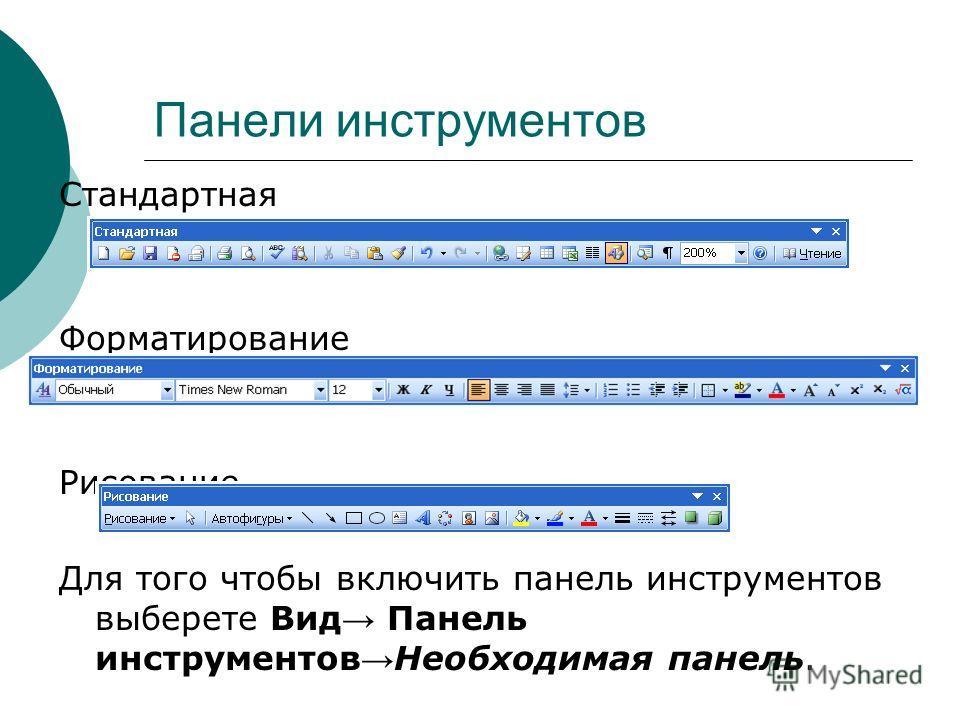 Панели инструментов Стандартная Форматирование Рисование Для того чтобы включить панель инструментов выберете Вид Панель инструментов Необходимая панель.