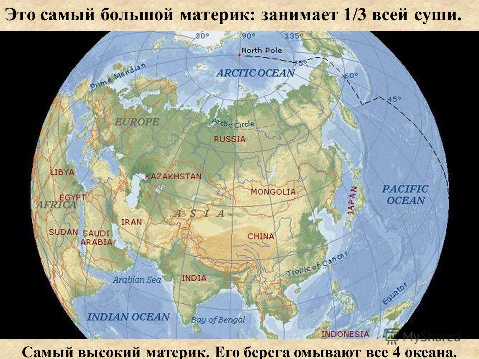 Это самый большой материк: занимает 1/3 всей суши. Самый высокий материк. Его берега омывают все 4 океана.