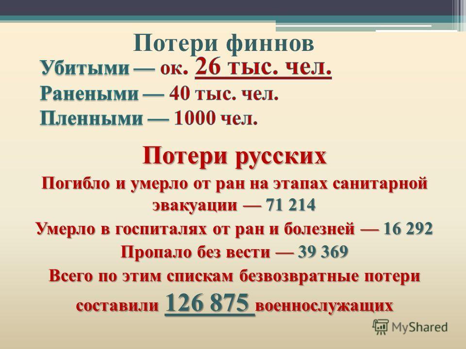Потери русских Погибло и умерло от ран на этапах санитарной эвакуации 71 214 Умерло в госпиталях от ран и болезней 16 292 Пропало без вести 39 369 Всего по этим спискам безвозвратные потери составили 126 875 военнослужащих Потери финнов