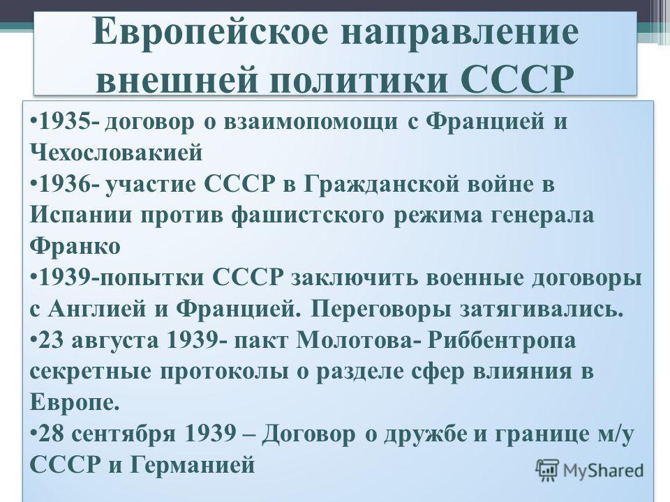 Европейское направление внешней политики СССР 1935- договор о взаимопомощи с Францией и Чехословакией 1936- участие СССР в Гражданской войне в Испании