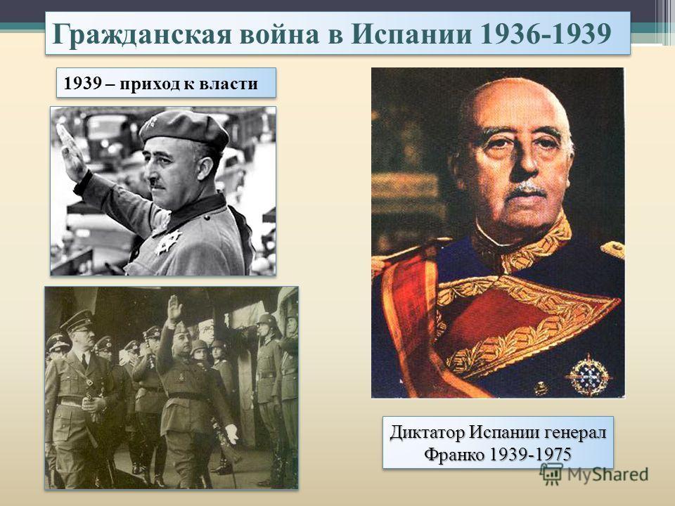 1939 – приход к власти Диктатор Испании генерал Франко 1939-1975 Гражданская война в Испании 1936-1939