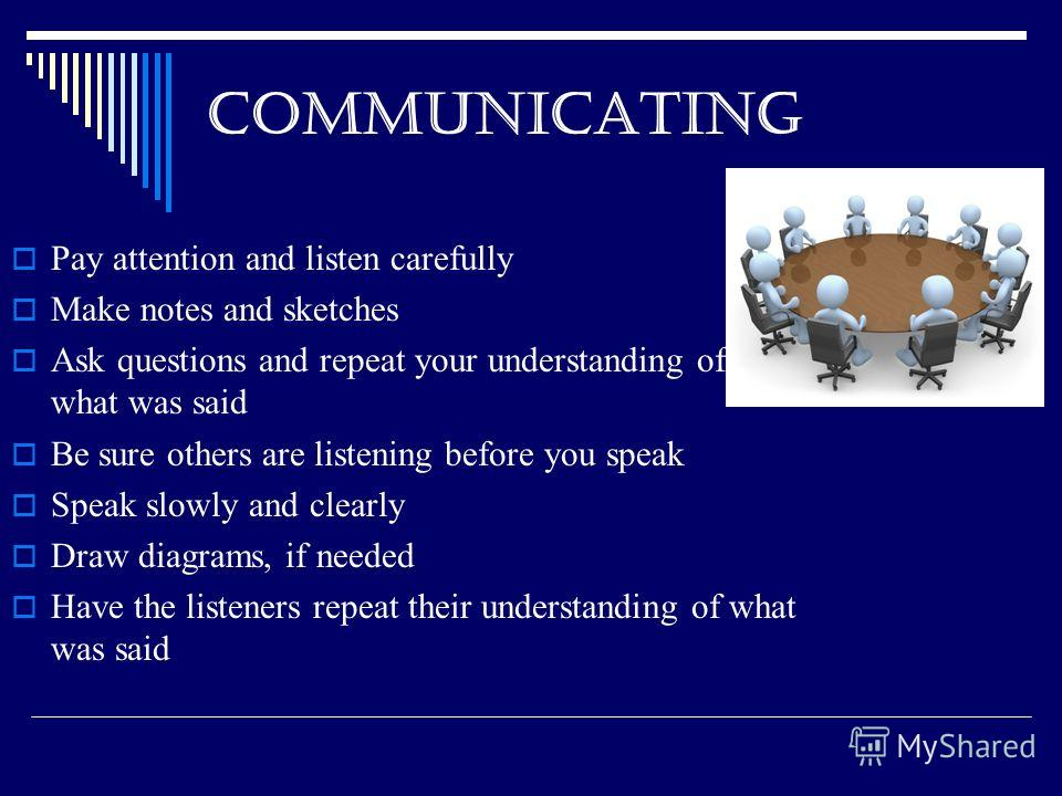 COMMUNICATING Pay attention and listen carefully Make notes and sketches Ask questions and repeat your understanding of what was said Be sure others are listening before you speak Speak slowly and clearly Draw diagrams, if needed Have the listeners r