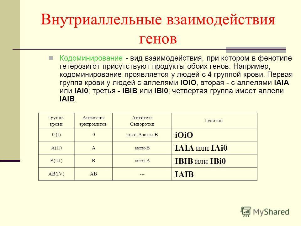 Внутриаллельные взаимодействия генов Кодоминирование - вид взаимодействия, при котором в фенотипе гетерозигот присутствуют продукты обоих генов. Например, кодоминирование проявляется у людей с 4 группой крови. Первая группа крови у людей с аллелями i