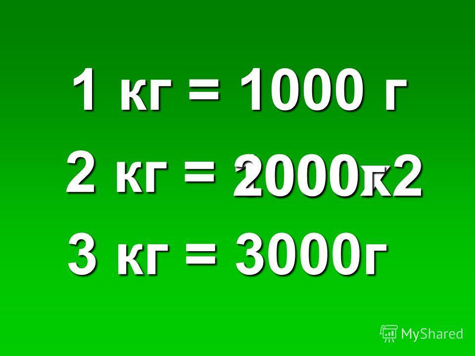 1 кг = 1000 г 2 кг = 1000х22000г 3 кг = 3000г