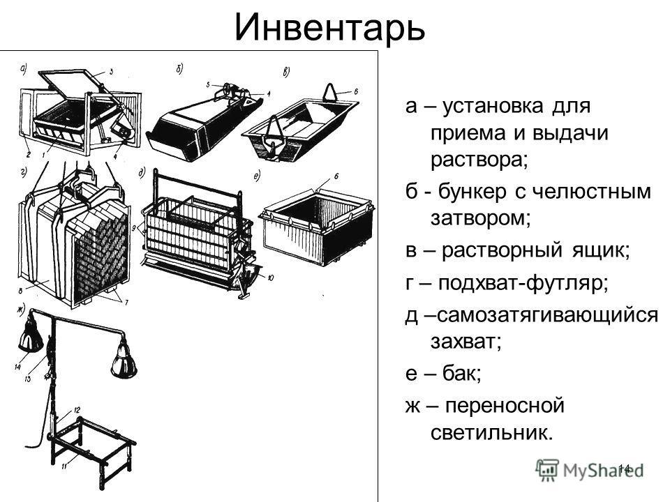 14 Инвентарь а – установка для приема и выдачи раствора; б - бункер с челюстным затвором; в – растворный ящик; г – подхват-футляр; д –самозатягивающийся захват; е – бак; ж – переносной светильник.