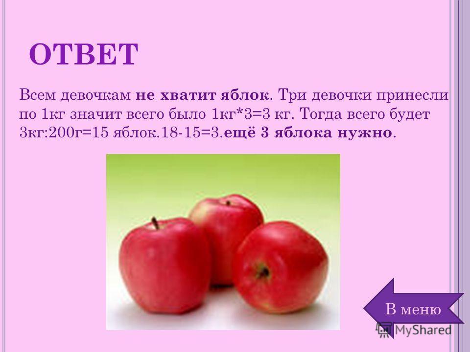 ОТВЕТ Всем девочкам не хватит яблок. Три девочки принесли по 1кг значит всего было 1кг*3=3 кг. Тогда всего будет 3кг:200г=15 яблок.18-15=3. ещё 3 яблока нужно. В меню