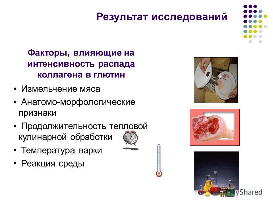 Результат исследований Измельчение мяса Анатомо-морфологические признаки Продолжительность тепловой кулинарной обработки Температура варки Реакция среды Факторы, влияющие на интенсивность распада коллагена в глютин