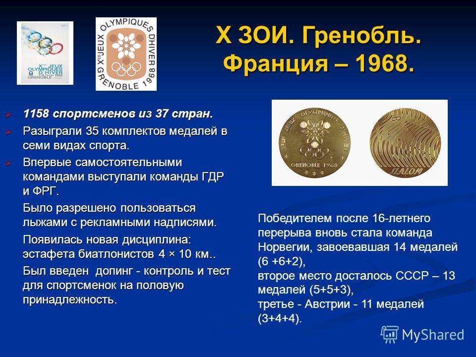 1158 спортсменов из 37 стран. 1158 спортсменов из 37 стран. Разыграли 35 комплектов медалей в семи видах спорта. Разыграли 35 комплектов медалей в семи видах спорта. Впервые самостоятельными командами выступали команды ГДР и ФРГ. Впервые самостоятель