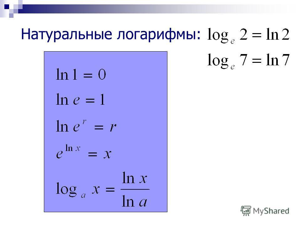 Натуральные логарифмы: