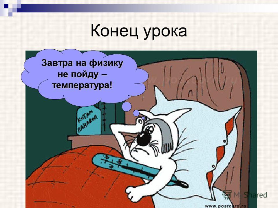Конец урока Завтра на физику не пойду – температура!