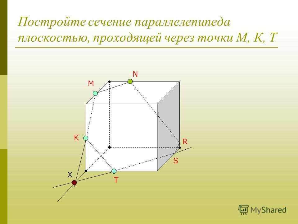 Постройте сечение параллелепипеда плоскостью, проходящей через точки М, К, Т М К Т Х N R S