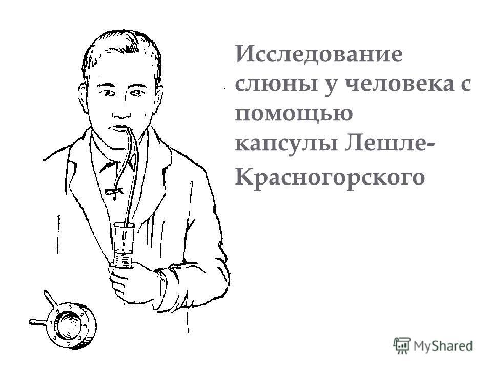 Исследование слюны у человека с помощью капсулы Лешле- Красногорского